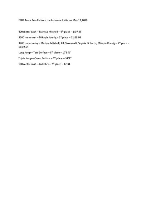 Spartan Track results May 12