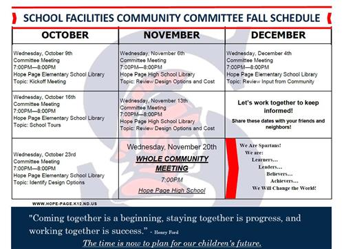 School Facilities Community Committee Fall Schedule