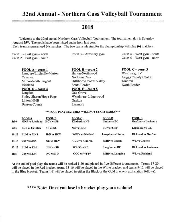 Northern Cass VB Tournament @ Northern Cass ~ Saturday, August 25th