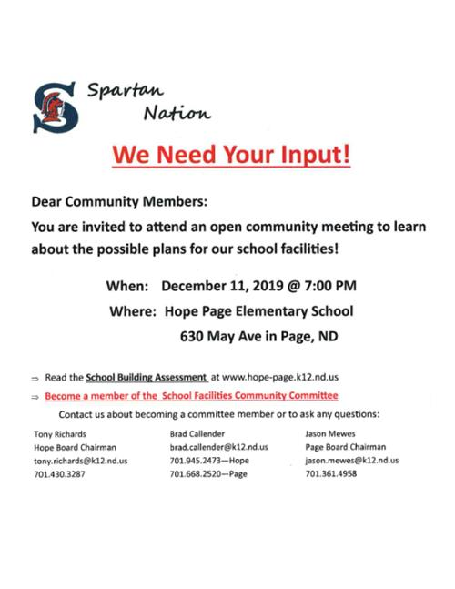 School Facilities Committee Meeting Wednesday, December 11th 7PM at Hope-Page Elementary School.  Dear Community Members: You are invited to attend an open community meeting to learn about the possible plans for our school facilities!