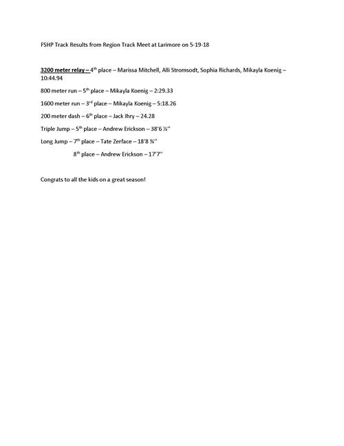 Regional Spartan Track Results May 19